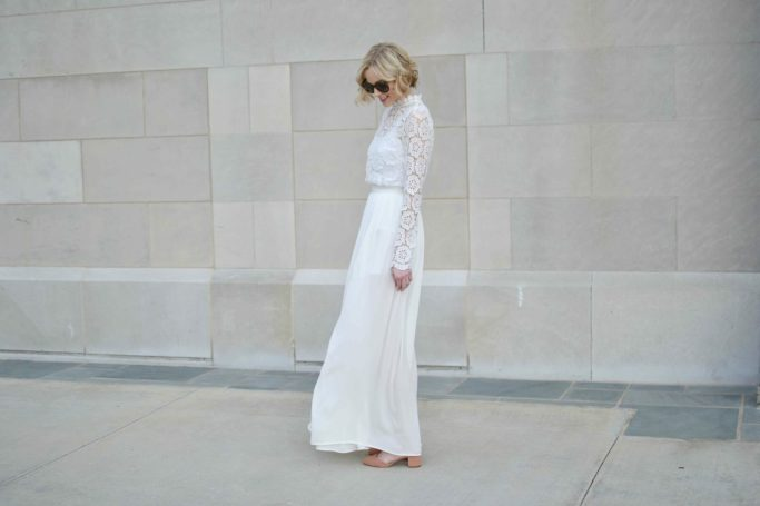 white crochet maxi dress, chicwish, self-portrait dupe, look alike, floral, Ann Taylor blush suede heels, pantone color of the year, spring style