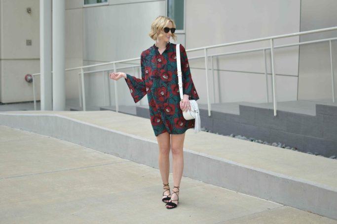 dark floral short dress, Rebecca Minkoff white bag, black lace up sandals, spring outfit ideas