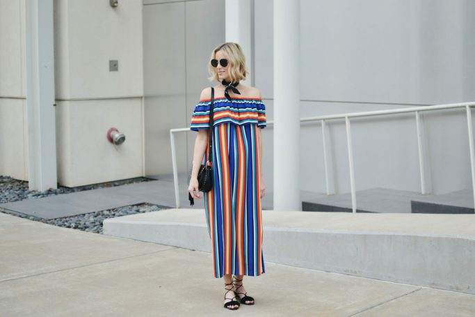 colorful OTS dress with black bandana, lace up sandals