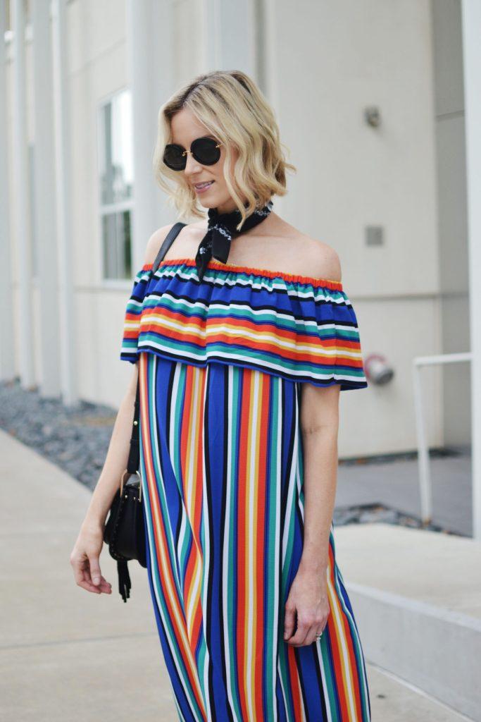 colorful OTS dress with bandana neck scarf