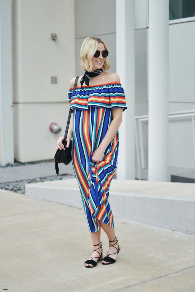 colorful OTS dress with black bandana
