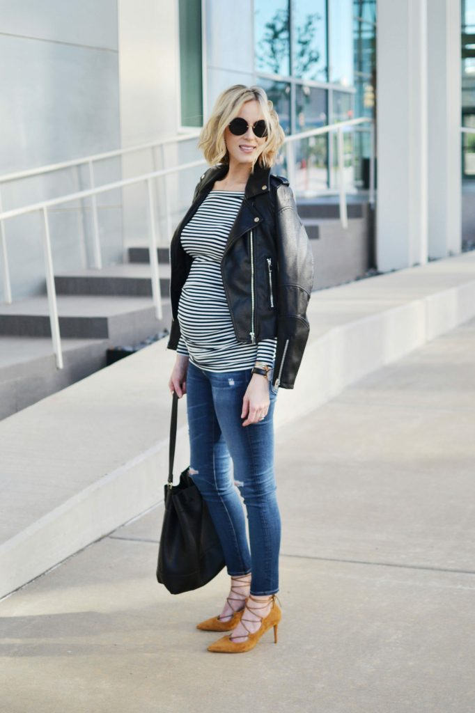 Isabella Oliver striped OTS maternity top, jeans, bucket bag, leather moto jacket