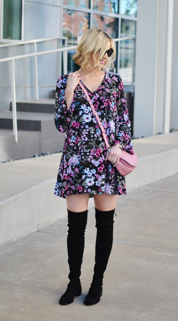 black floral shift dress, OKT boots, pink bag, stylish maternity outfit idea, fall outfit inspiration
