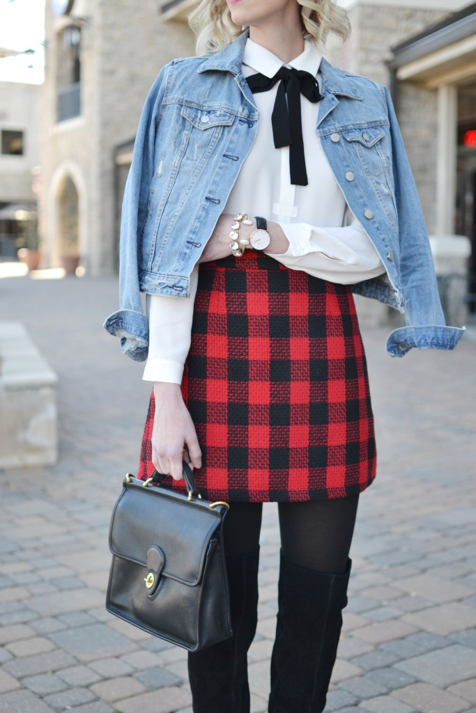 leggs-tights-plaid-skirt-otk-boots-bow-blouse-jean-jacket-holiday-look