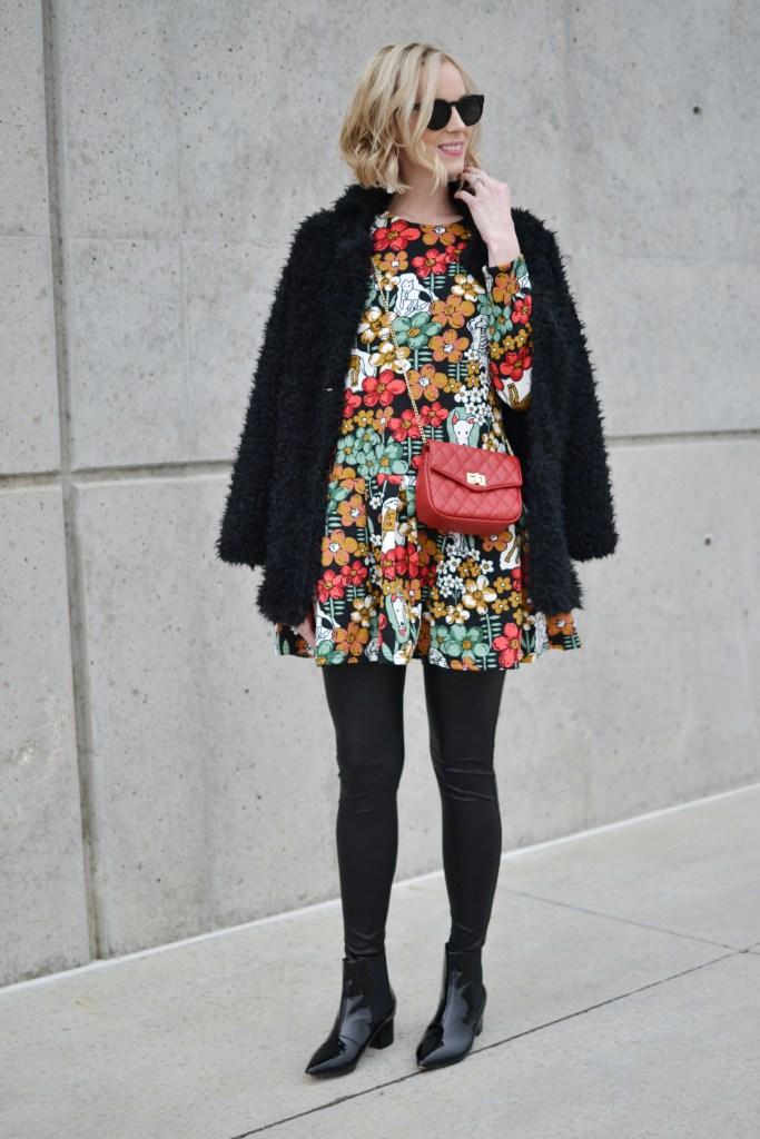 oasap-printed-peplum-dress-and-fuzzy-coat-red-bag-leather-leggings-patent-booties
