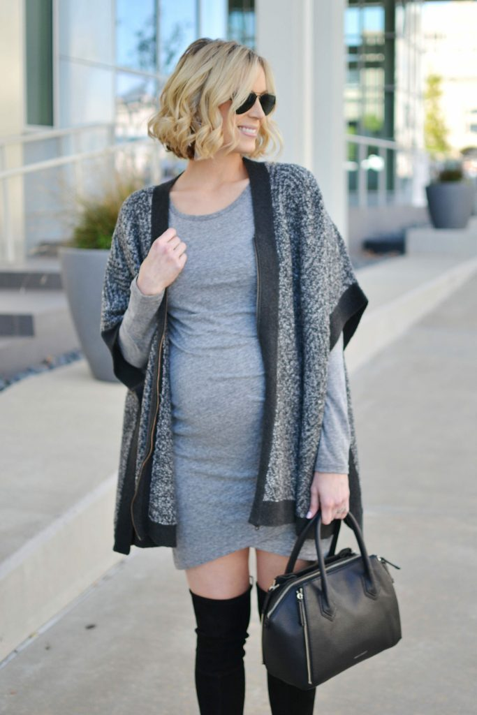 how to style a poncho, grey and black poncho, fitted dress, over the knee boots, stylish fall outfit, stylish maternity outfit, maternity fashion
