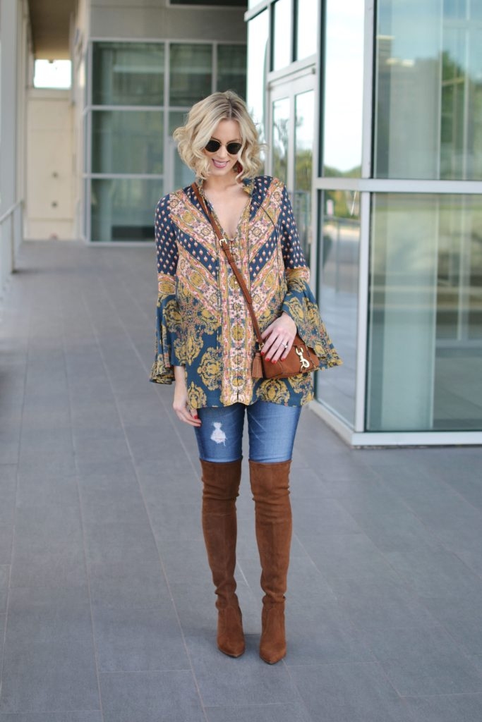 boho tunic top, distressed jeans, brown OTK boots, easy fall outfit, stylish maternity outfit