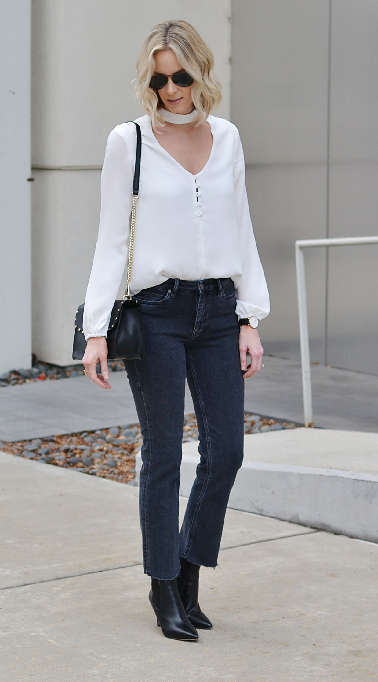 Choker Top with Straight Leg Jeans - Straight A Style