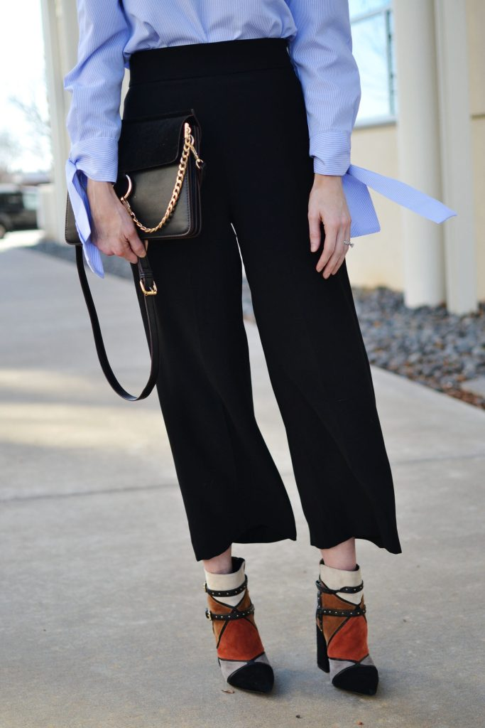 culottes and blouse with statement sleeves