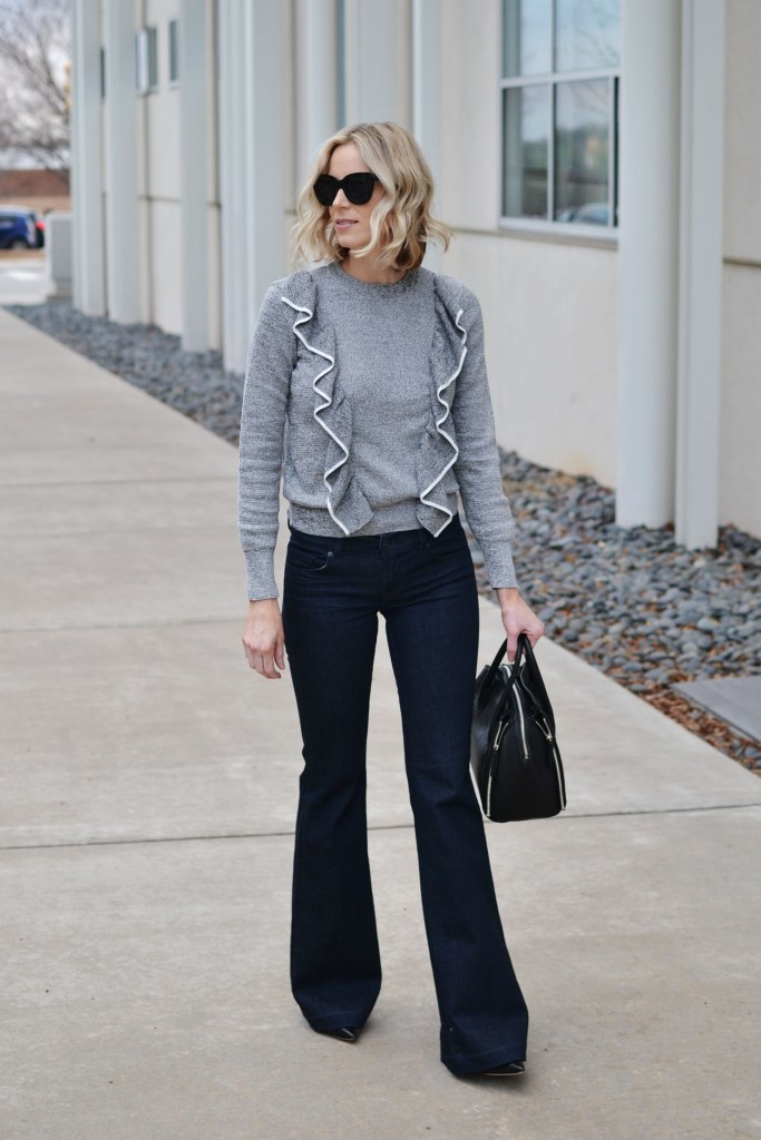 ruffles for spring, ruffle sweater, flare jeans