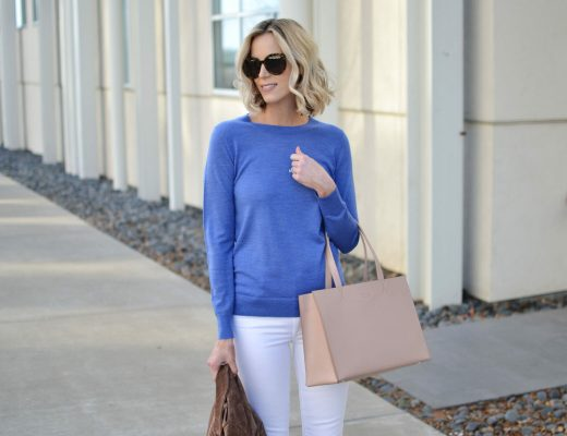 Banana Republic blue sweater with white jeans