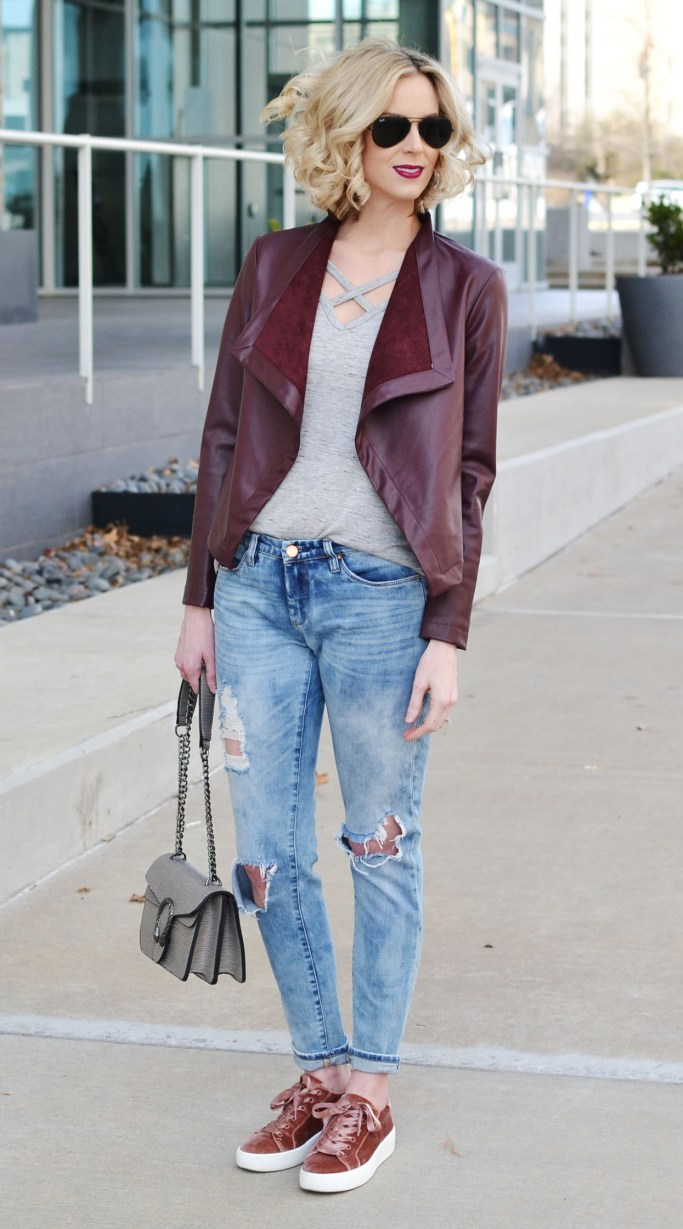 sliming drape front jacket, boyfriend jeans, tee, velvet sneakers, weekend casual outfit