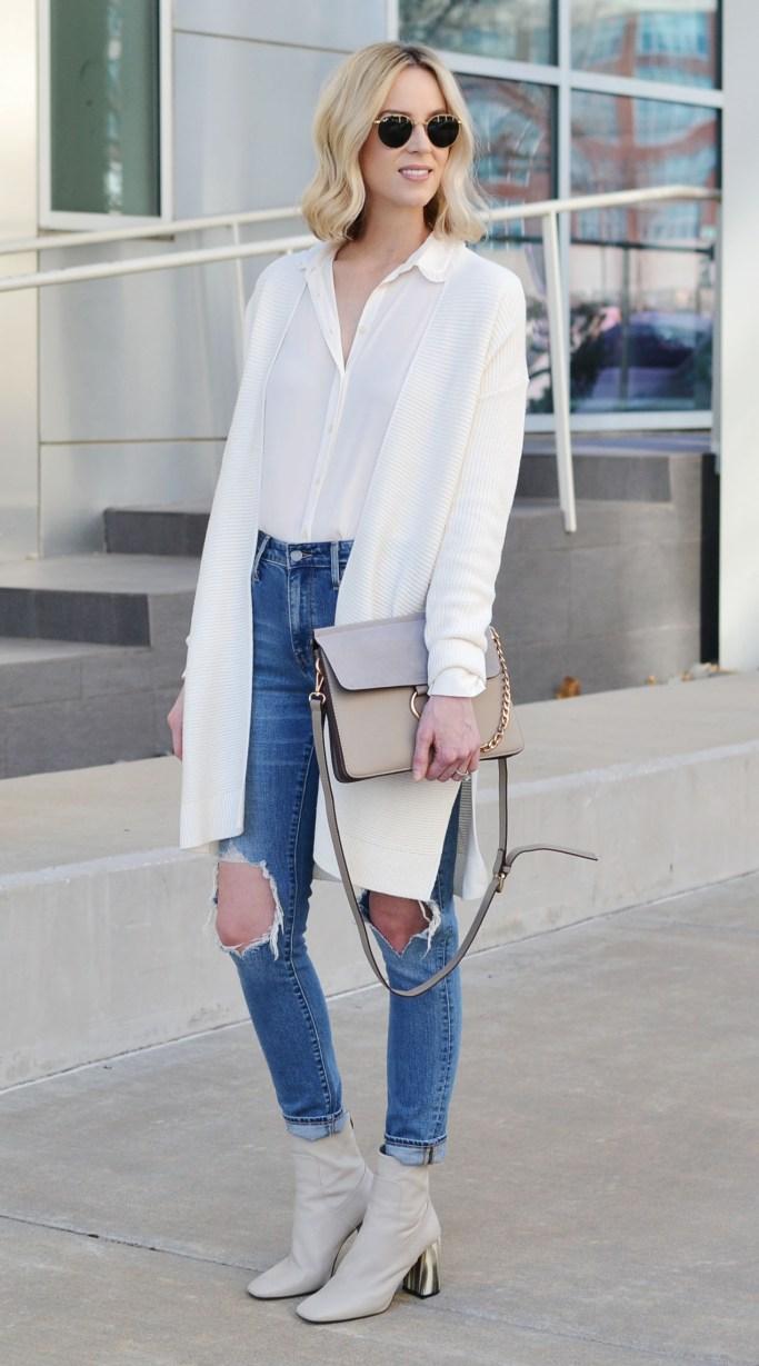 cream cardigan, cream blouse, distressed denim, monochrome layers, casual outfit idea
