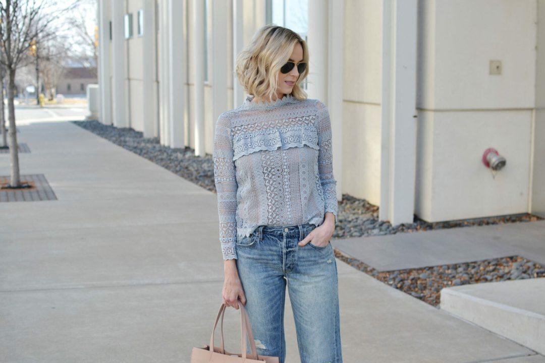 lace top, boyfriend jeans details IG