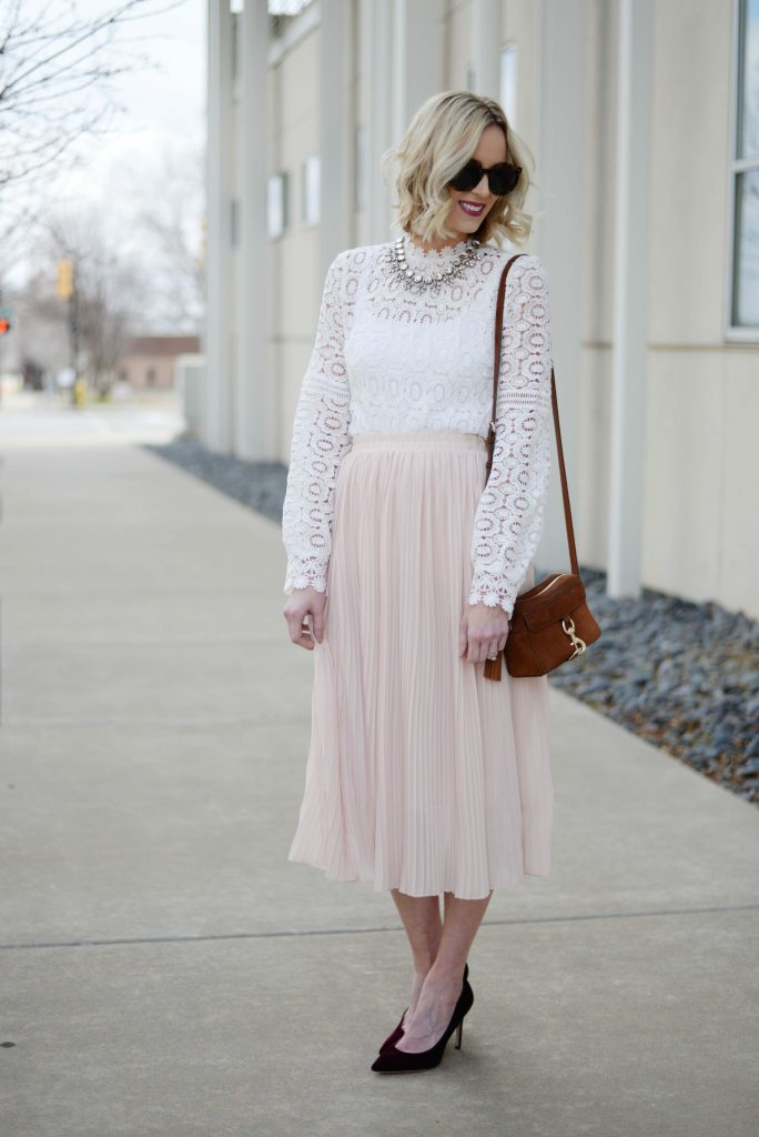 blush pleated midi skirt and white lace top