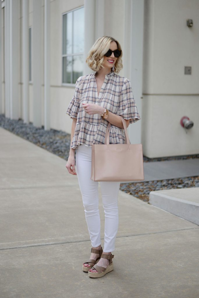 plaid peplum top for spring, white jeans, flatform espadrille sandals, spring outfit idea