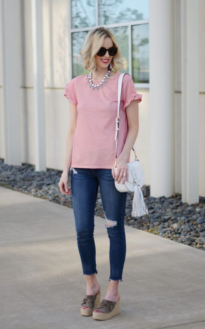 striped tulip sleeved tee, distressed jeans, marc fisher espadrille wedges, white rebecca minkoff tassel bag, casual outfit idea. easy mom style