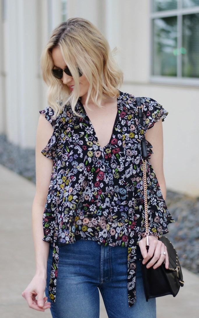 breezy floral top and cropped flares, Rebecca Minkoff tie neck floral blouse, Mother denim, flatform espadrilles
