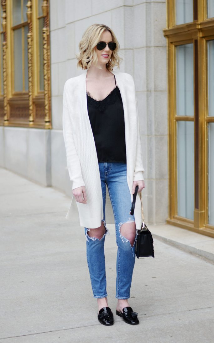 lace camisole, cream cardigan, levi's 501, loafer slides