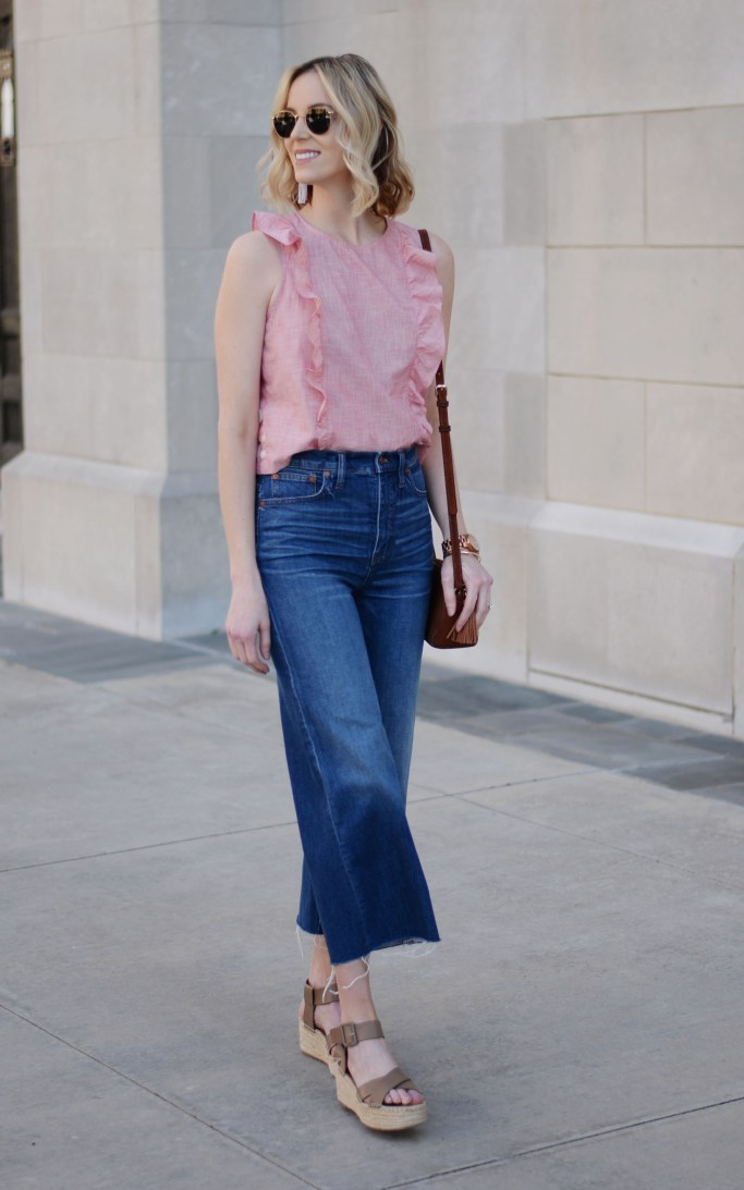 what shoes to wear with cropped jeans, how to wear cropped jeans, culottes