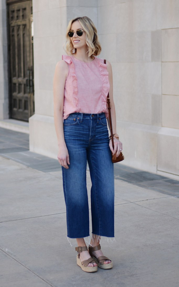 denim culottes and crop tops, madewell, ruffle top, flatform espadrilles