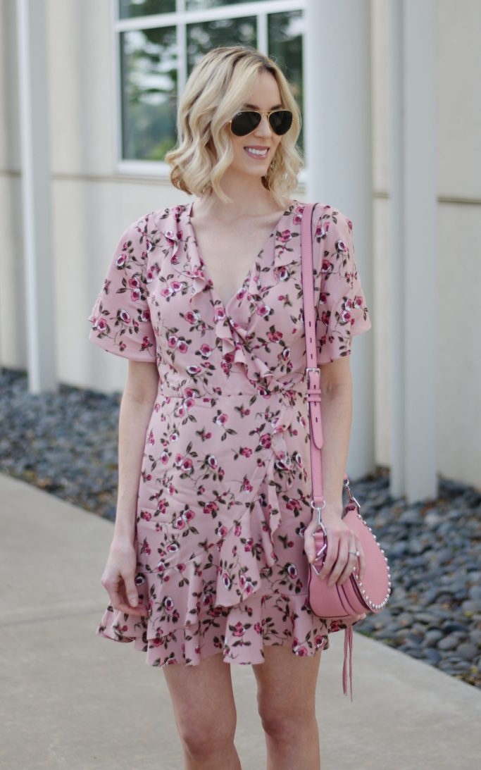 floral wrap dress, ruffles, pink floral, suede moto jacket, pink rebecca minkoff unlined saddle bag, spring outfit idea