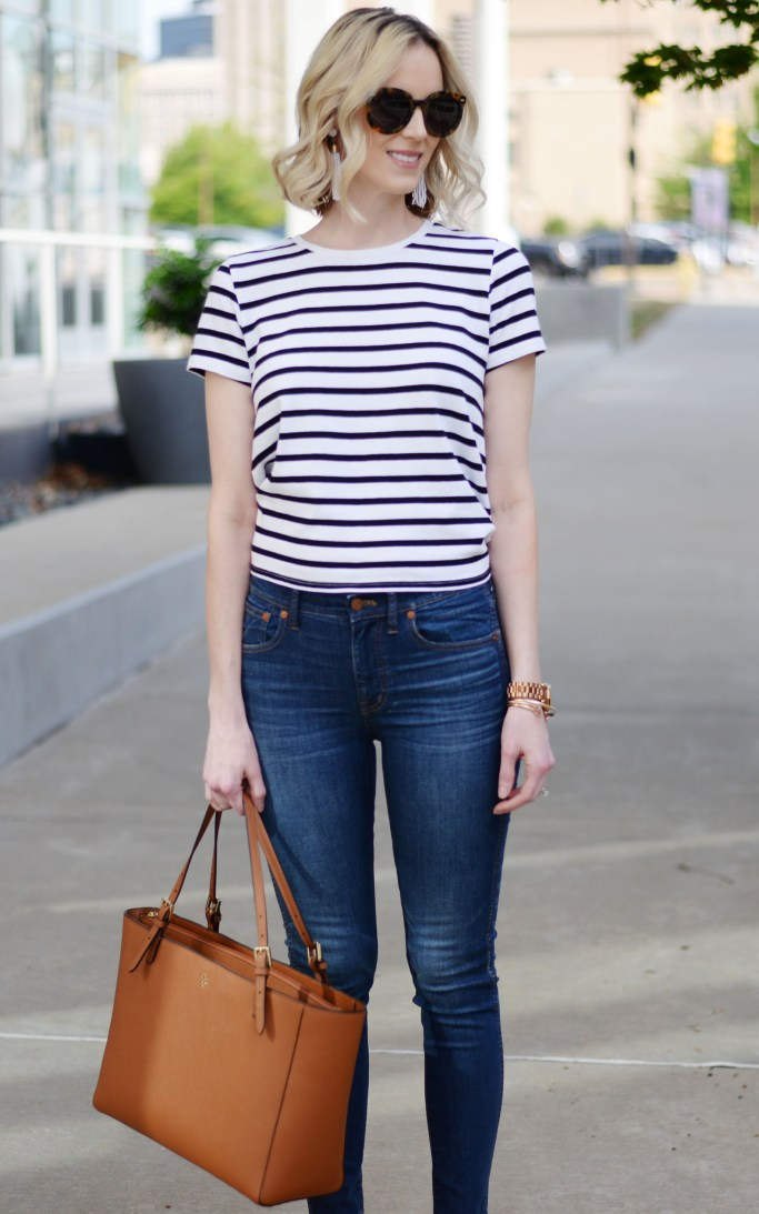 classic style: stripes and denim, Tory Burch tote, March Fisher wedges, easy spring outfit