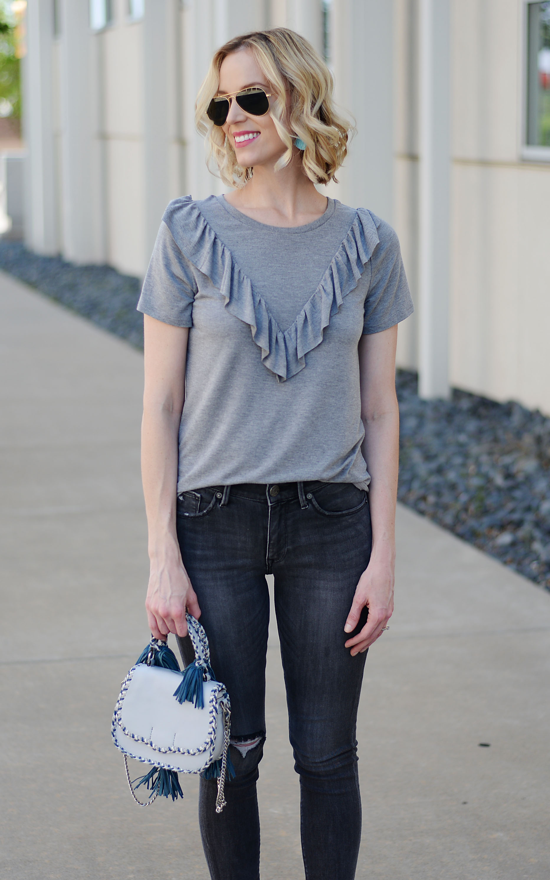 675fd4dea55 ... monochrome grey casual outfit with blue Rebecca Minkoff tassel bag and  bow slides ...