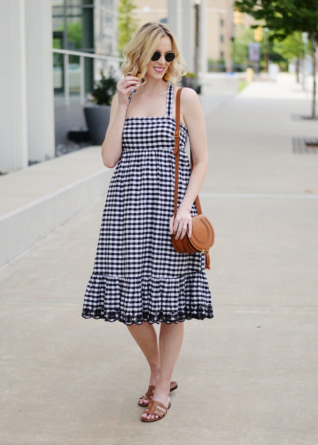 J. Crew gingham dress with embroidery detail and cross back, Sam Edelman slides, Chloe Marcie bag