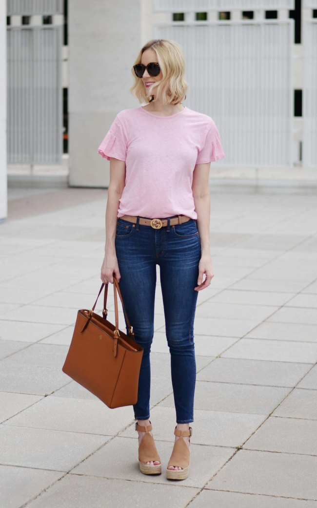 how to buy designer items for less, pink t-shirt, madewell jeans, Gucci belt, Marc Fisher wedges, Tory Burch tote