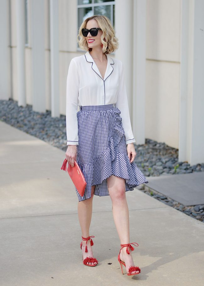 5 Easy Ways to Style a Pajama Top, pj top trend, how to style a pj top, gingham skirt