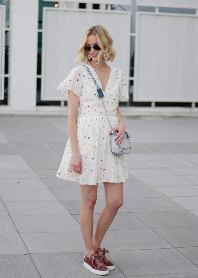 styling a dress with sneakers, rebecca minkoff crosby minidress, velvet sneakers