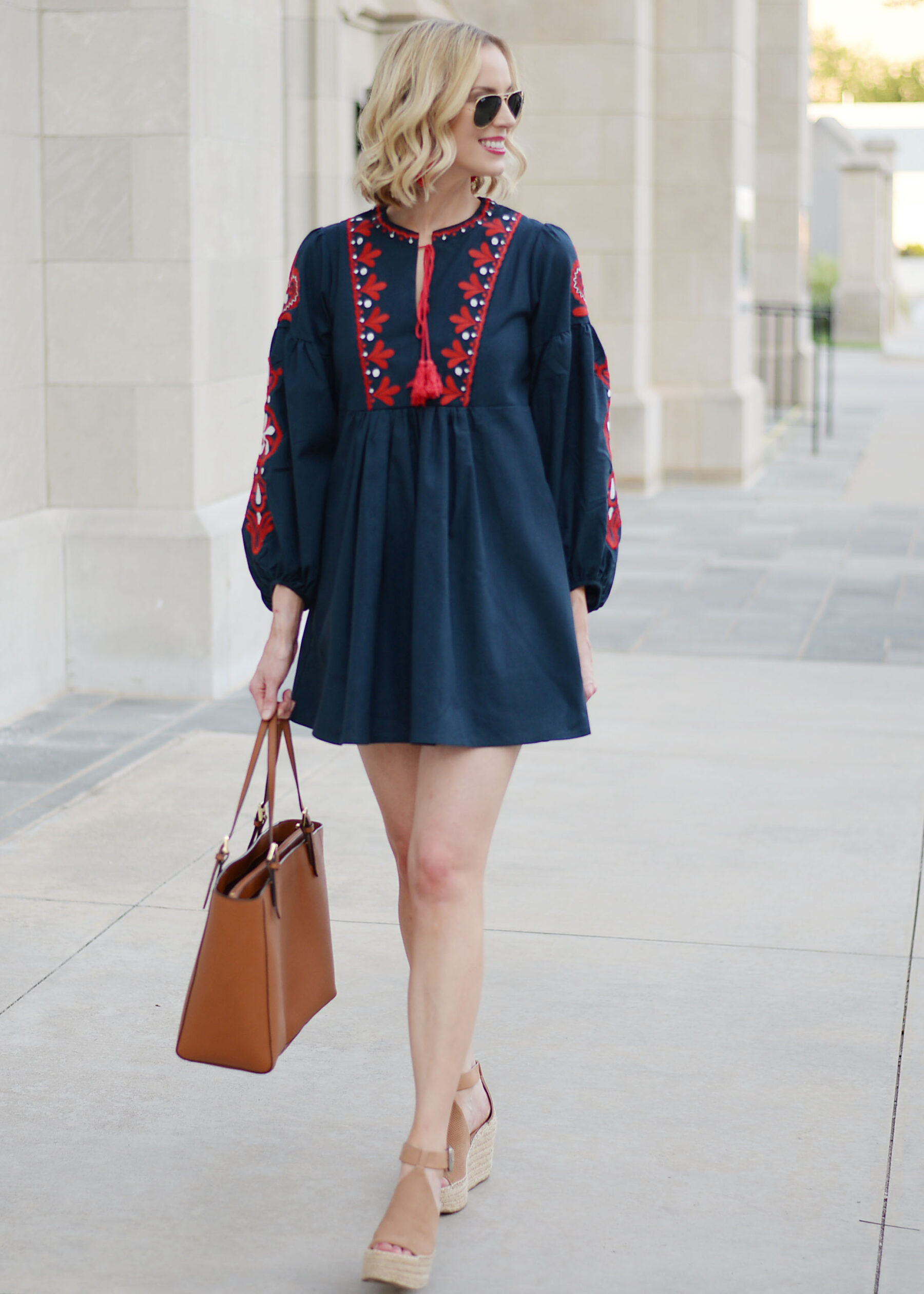 ... navy mini dress with red embroidery ...