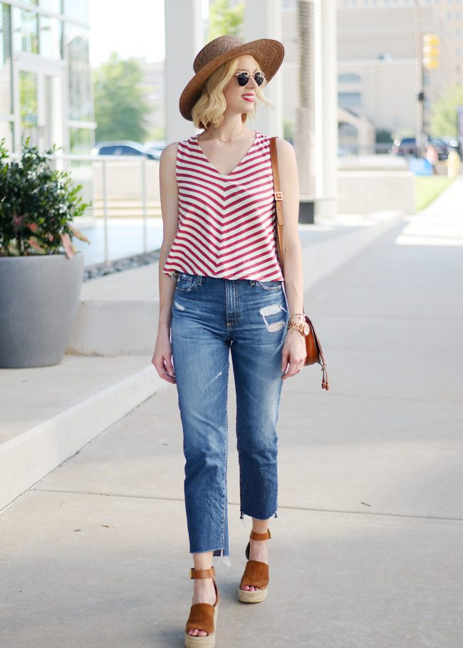 high waisted jeans, straight leg jeans, AG Phoebe jeans, striped tank, Chloe mini Marcie bag, summer outfit idea, Marc Fisher Adalyn wedges, straw hat