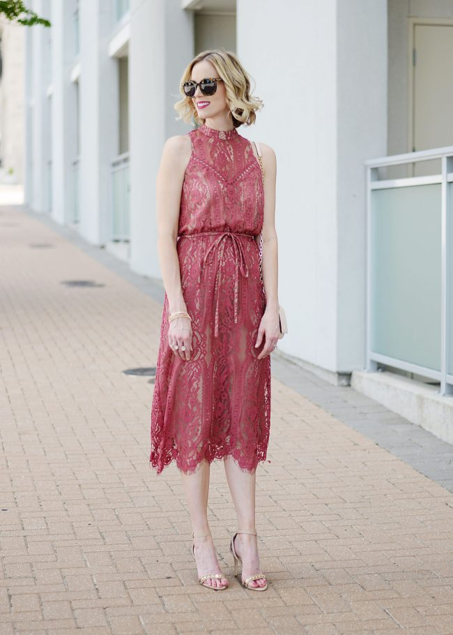 berry colored lace midi dress and heels