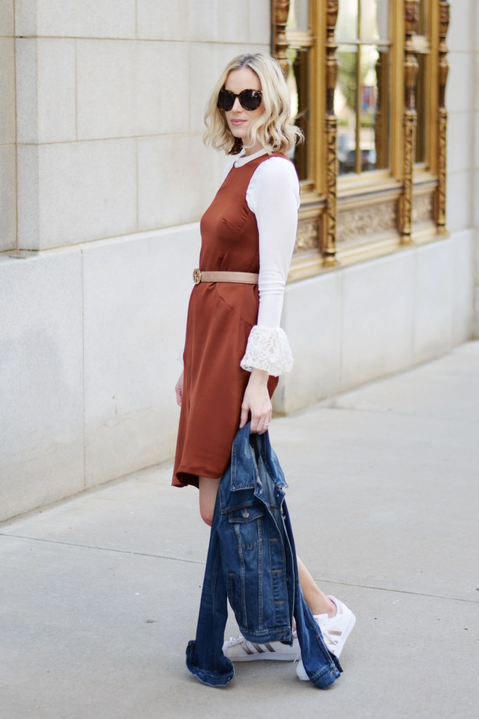 fall dress layered with top and jean jacket worn casually
