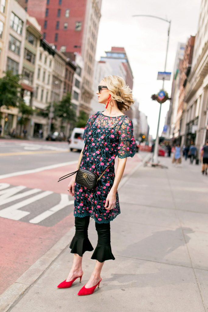embroidered side slit tunic and crop flare pants with red mule heels, new york street style photos, what to wear to nyfw