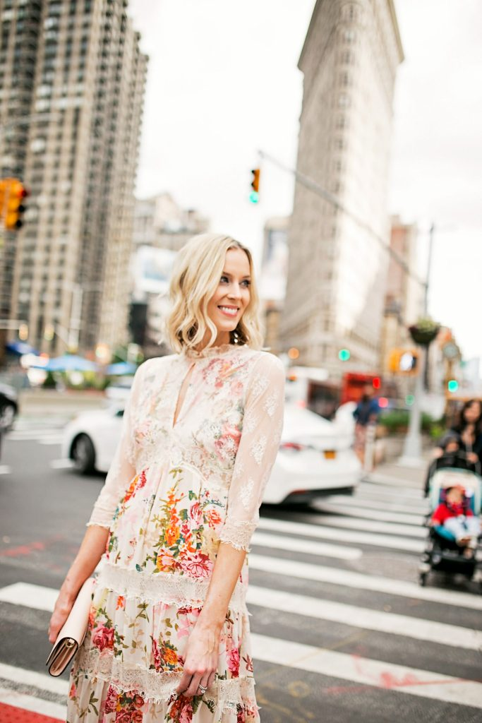 lace and floral dress with long sleeves, flatiron district new york city