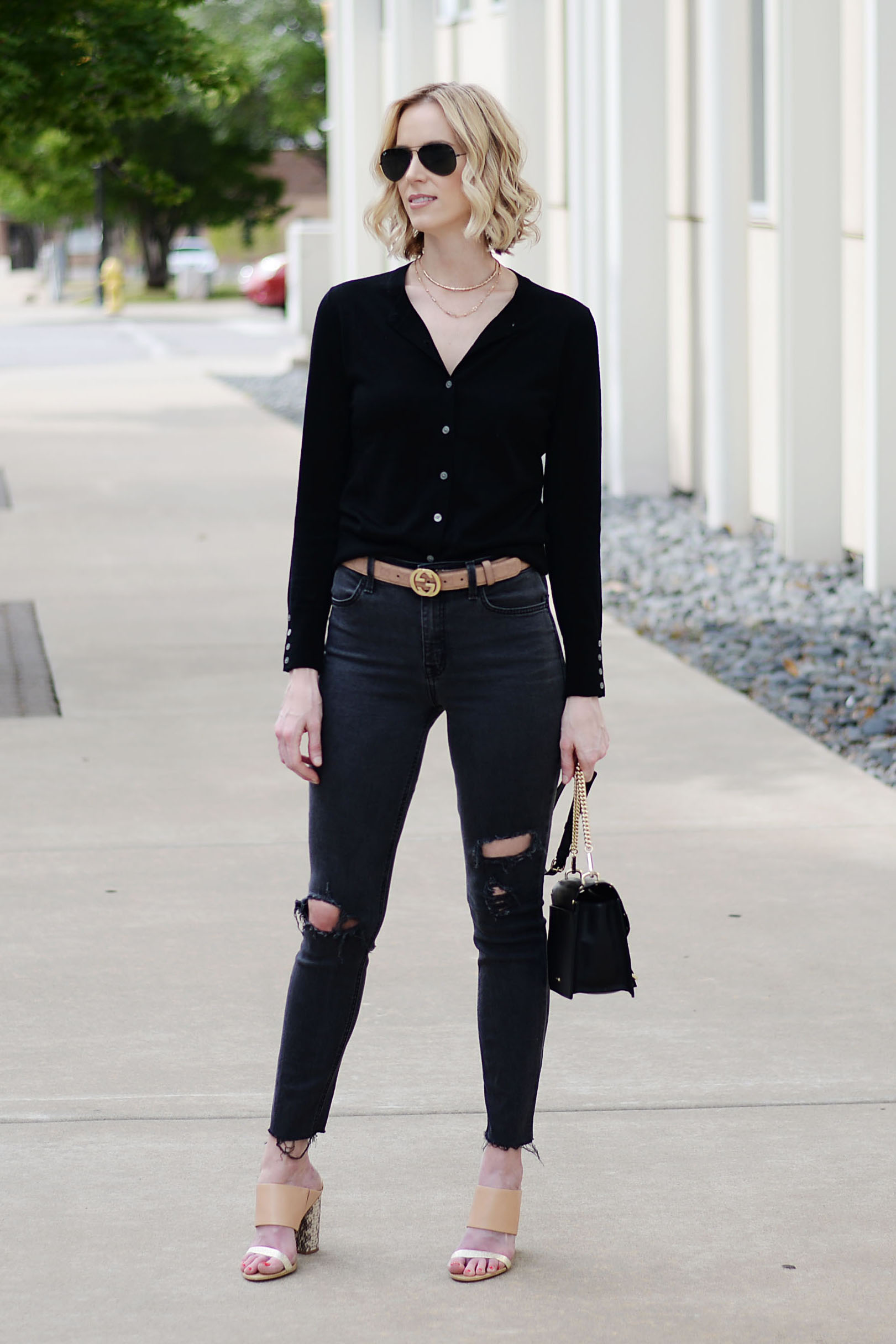 9cdd5d065 ... how to wear a cardigan as a top, all black outfit, gucci belt, ...