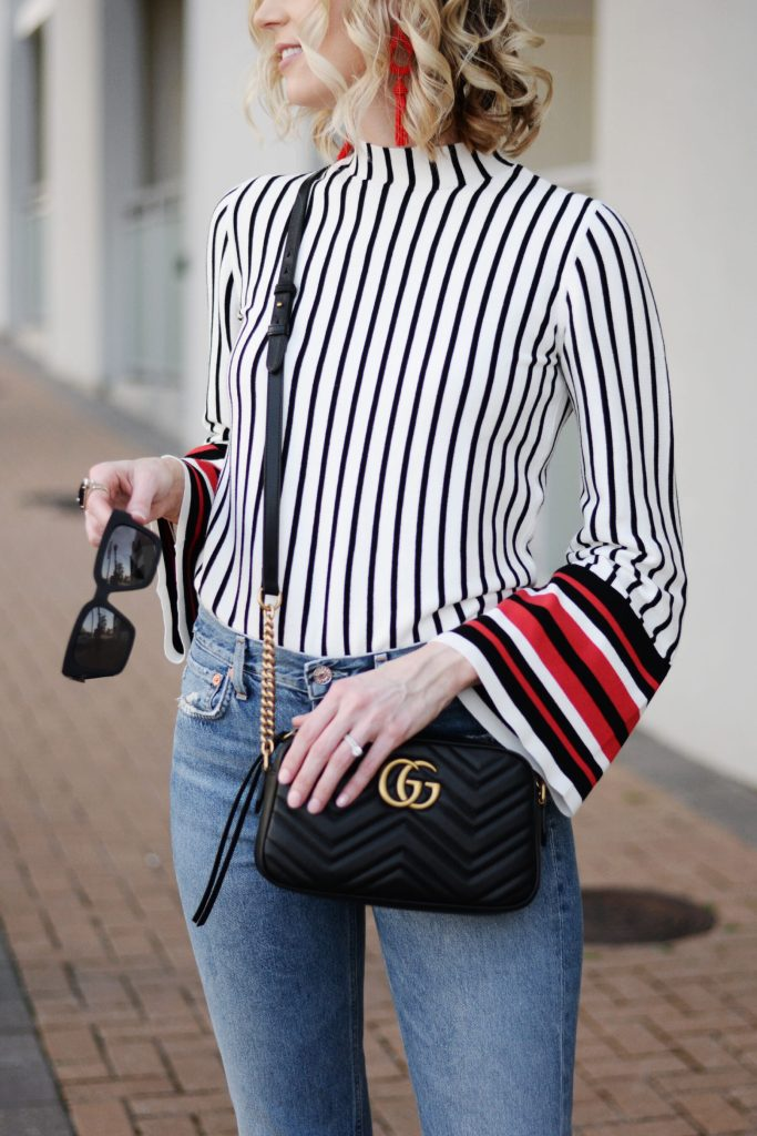 bell sleeve striped top with Gucci marmont bag