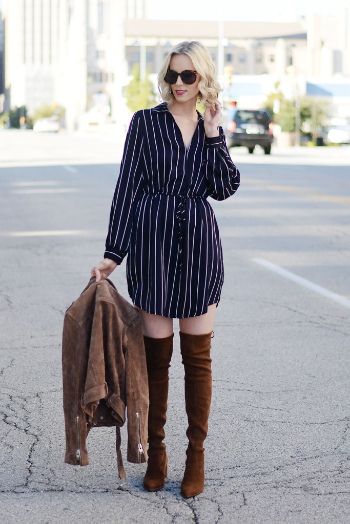 pinstripe satin cinched waist dress with OTK boots
