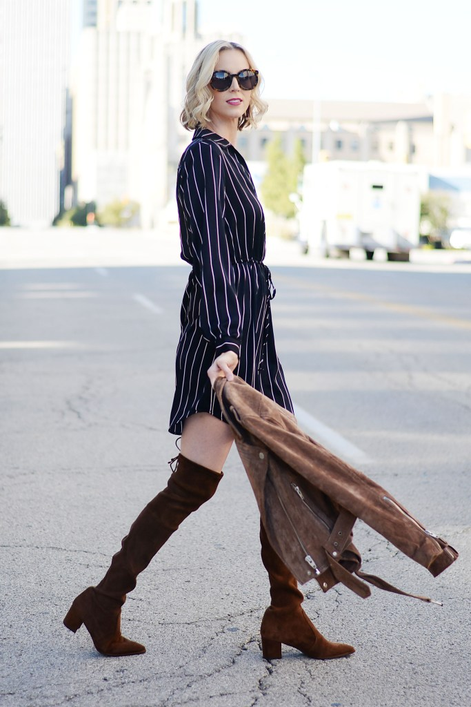 navy tie waist dress and boots, dress that goes with everything