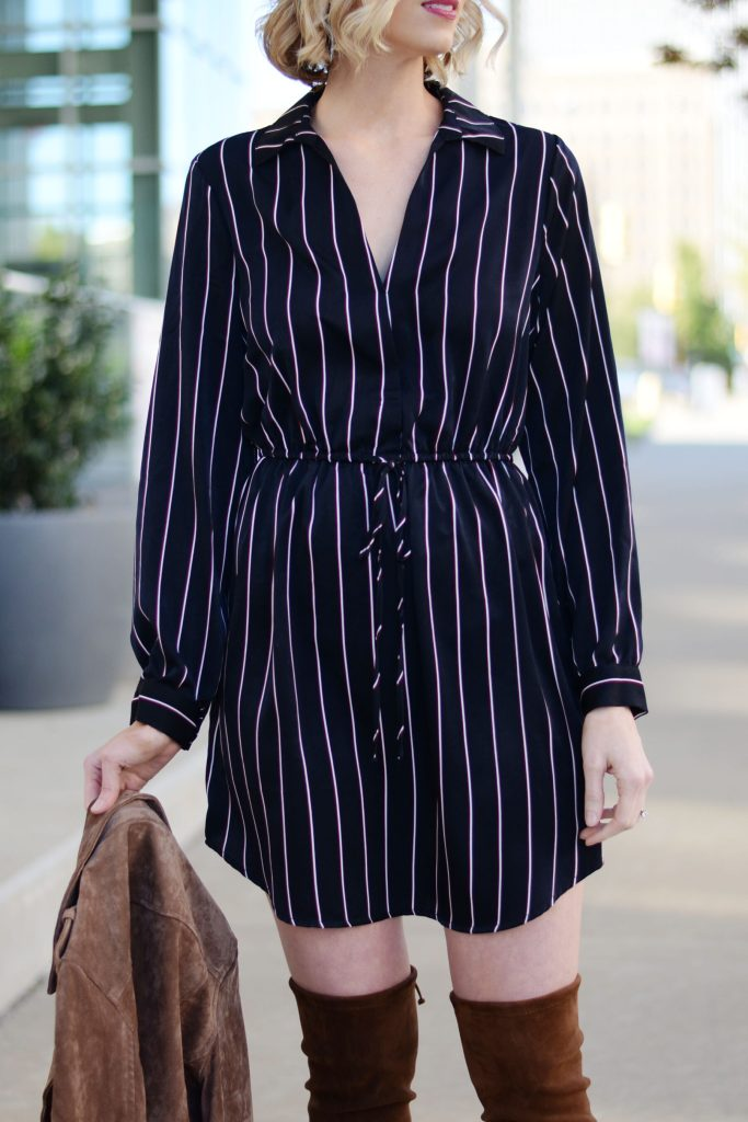 navy pinstripe dress, the everything dress