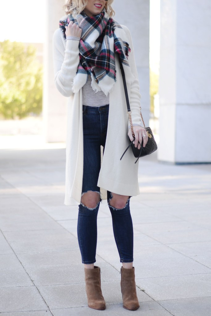 how to style a long cardigan for fall