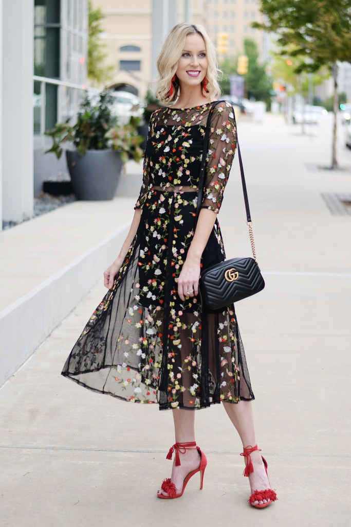 the perfect fall cocktail dress, embroidered floral midi dress with sheer detailing