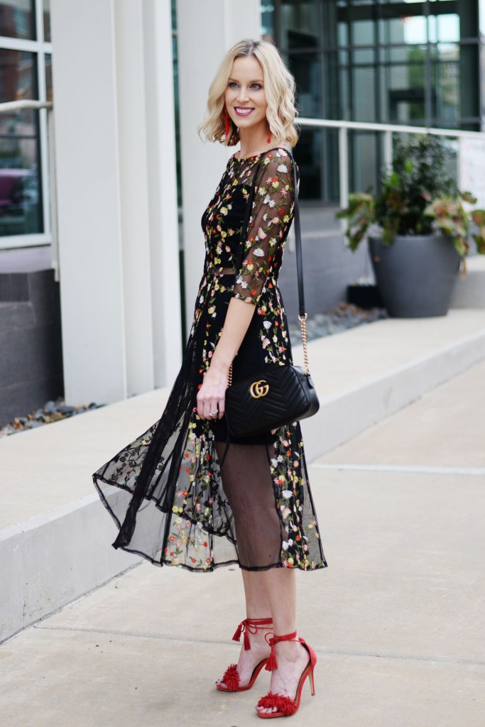 dressy outfit idea for cooler months, what to wear to a cocktail party, long sleeved midi dress, floral embroidered dress with sheer detailing