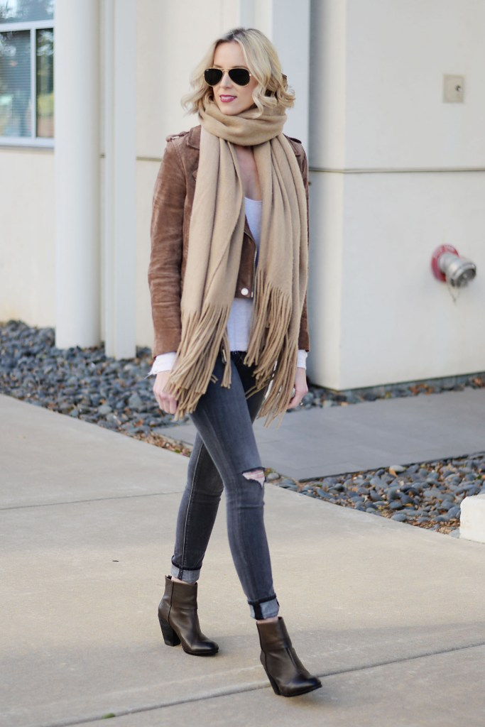 neutral fall outfit idea, fall layers
