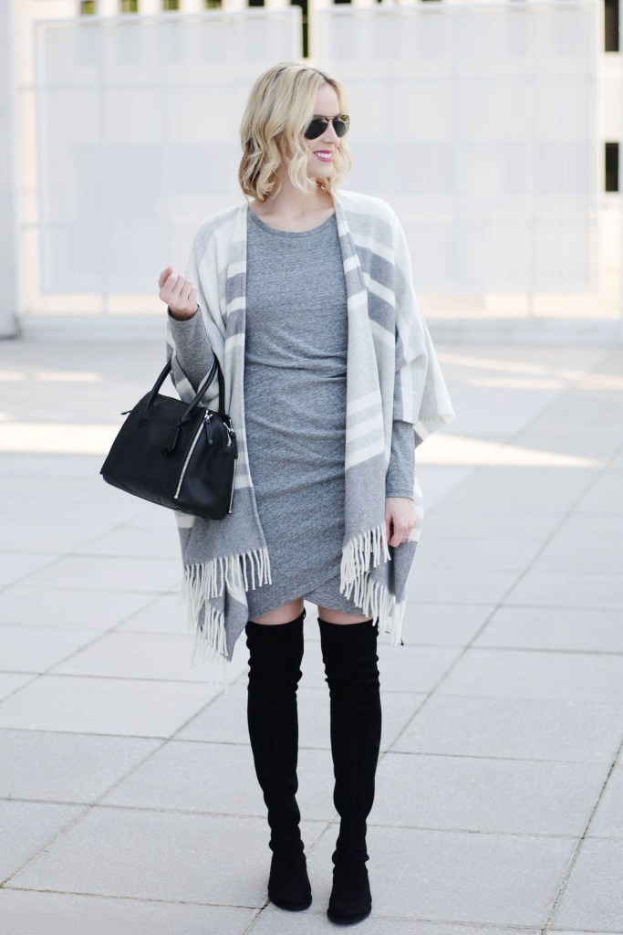 how to style a poncho with a dress, grey rouched dress with black over the knee boots and grey striped poncho