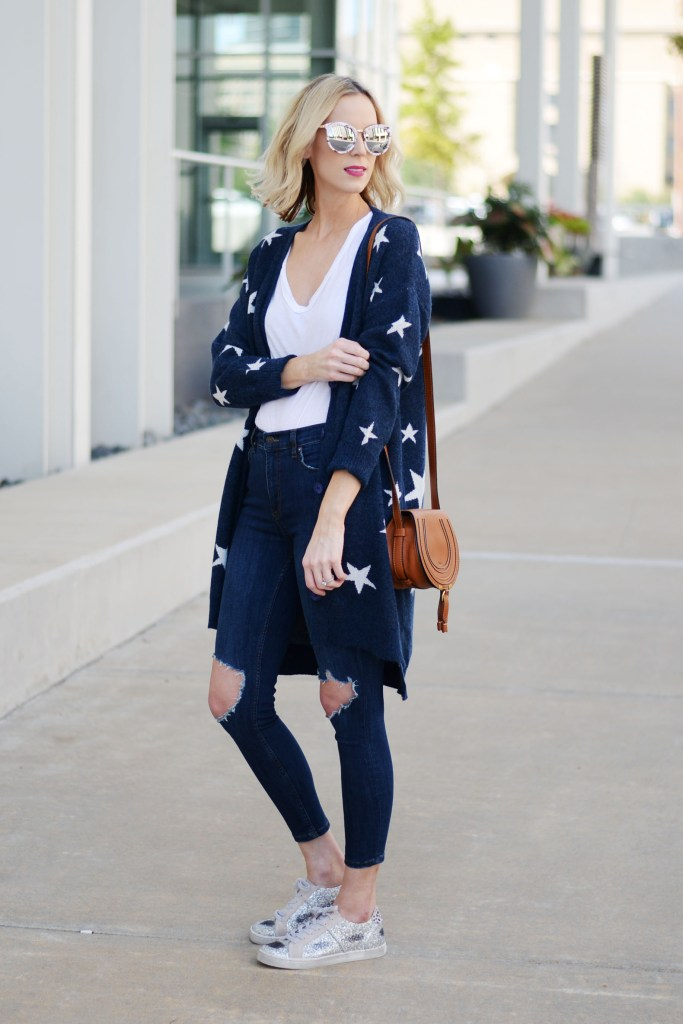 star cardigan, ripped jeans, white t-shirt, casual outfit idea