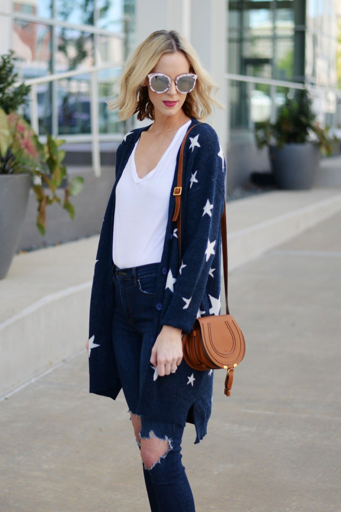 mirrored sunglasses, chloe mini marcie bag, navy blue star cardigan, busted knee jeans